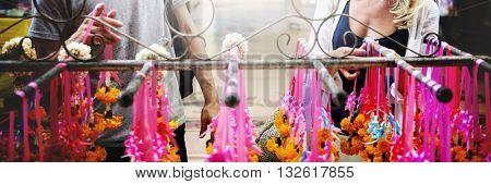 Garland Ceremony Senior Respect Festival Holy Concept