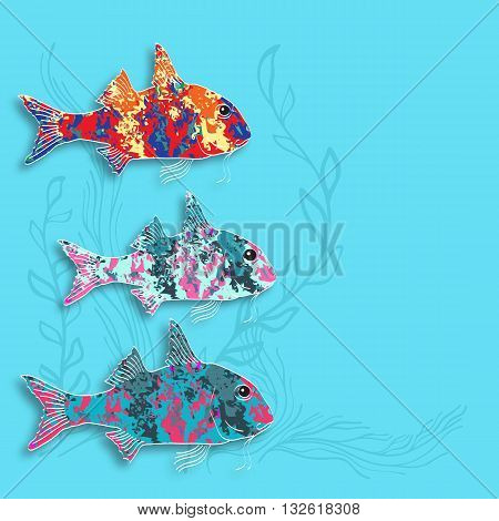 Vector illustration with  fishes and alga on aquamarine background.