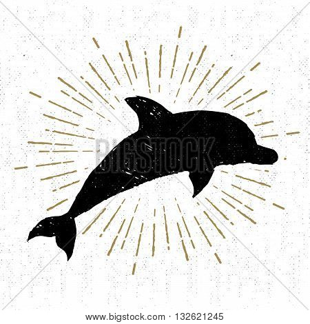 Hand drawn textured vintage icon with dolphin vector illustration.