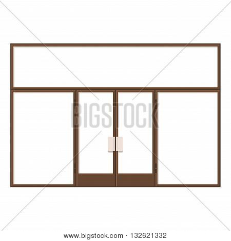 Wood Shopfront with Large Black Blank Windows. Vector illustration