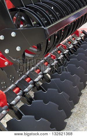 A Large Disc Harrow Trailer for a Farming Tractor