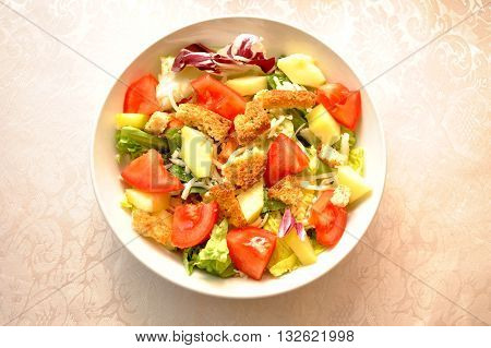 Cold Appetizing Summer Vegetable Salad with Croutons