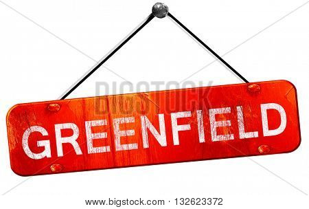 greenfield, 3D rendering, a red hanging sign