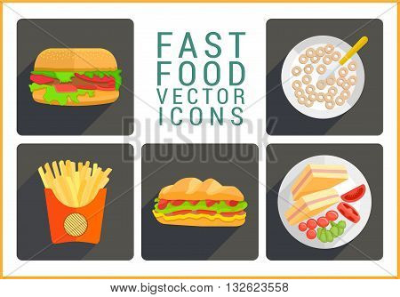 Fast food flat vector modern icons set. Collection of various junk food pictograms.