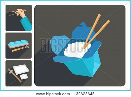Asian food flat vector modern icons set. Collection of various oriental culinary pictograms