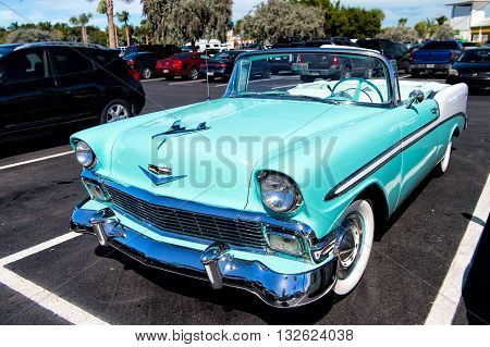 Chevrolet Bel Air Convertible. Retro Blue Car