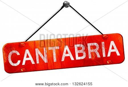 Cantabria, 3D rendering, a red hanging sign