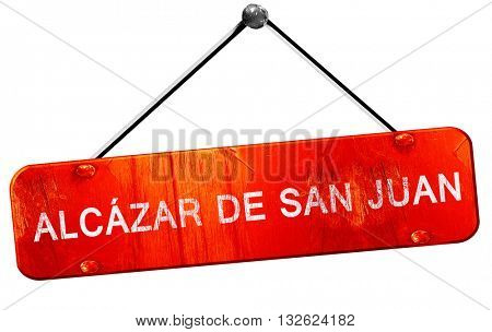 Alcazar de san juan, 3D rendering, a red hanging sign