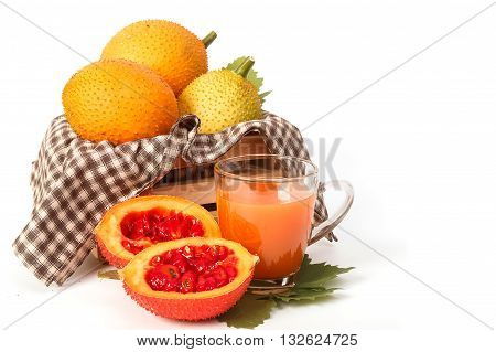 Gac fruit Baby Jackfruit and juice on white