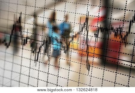 graph and blur people in department store