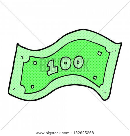 freehand drawn cartoon 100 dollar bill