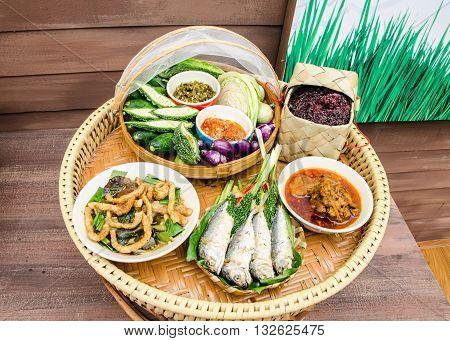 traditional northern of Thailand food call Khantoke