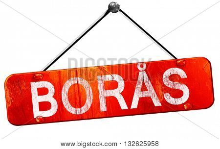 Boras, 3D rendering, a red hanging sign