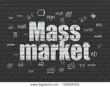 Advertising concept: Painted white text Mass Market on Black Brick wall background with  Hand Drawn Marketing Icons