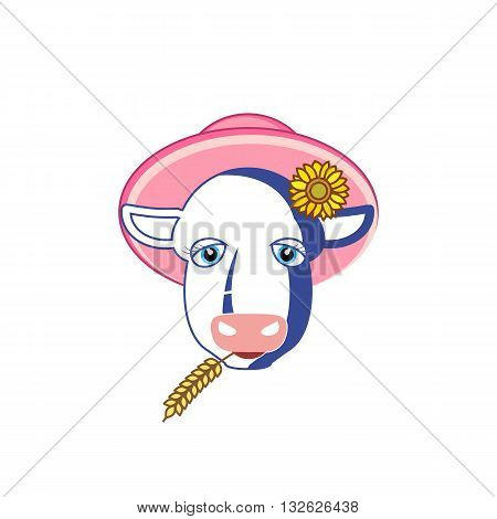 Cartoon style cow head silhouette with hat wheat and flower vector illustration isolated on white background.