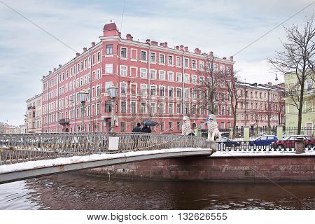 Ancient Bridge of Four Lions across the Griboyedov Canal in historical part of city. Built in the 19th century