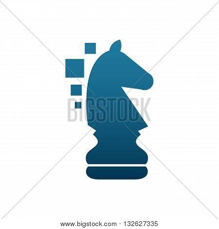 Chess club blue horse shape silhouette vector illustration isolated on white background.
