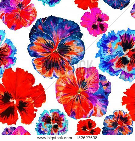 Watercolor floral pattern. Colorul pansies isolated on white background. Red blue flowers