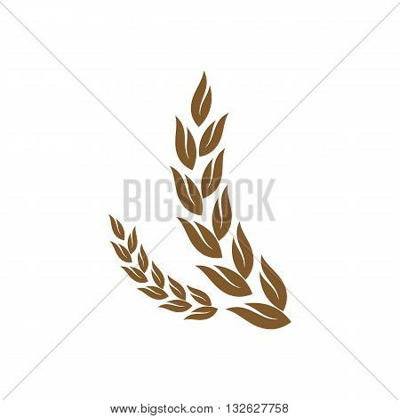 Ears of corn silhouette vector illustration isolated on white background.