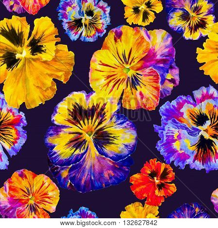 Watercolor floral pattern. Colorful pansies isolated on dark background