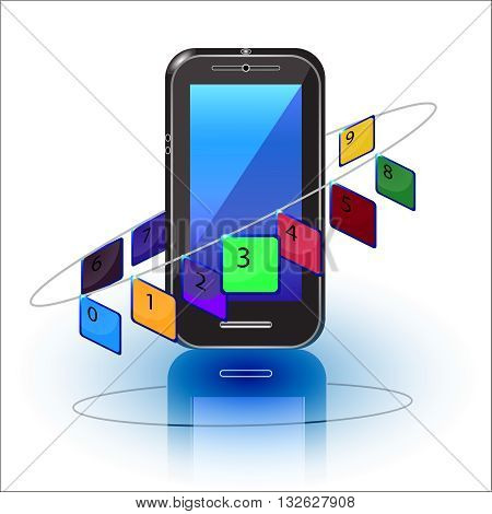 Cell phone numbers on the white,object, phone, portable, realistic, screen, smart,