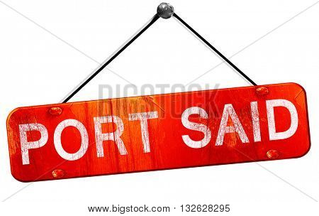 port said, 3D rendering, a red hanging sign