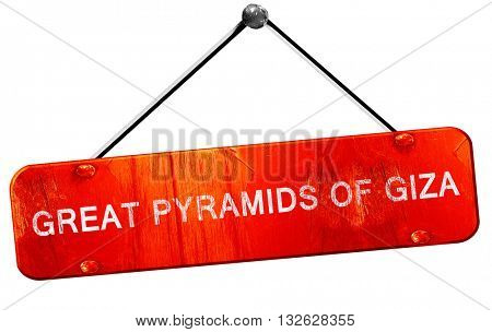great pyramids of giza, 3D rendering, a red hanging sign
