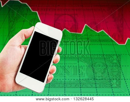 hand holding cellphone with stock exchange screen. Forex.