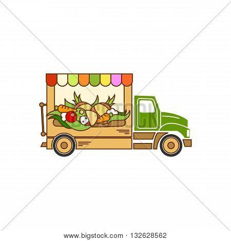 Beautiful cartoon style food truck vector illustration isolated on white background.
