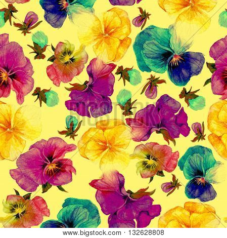 Flower pattern watercolor painting on yellow background