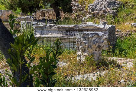 marble roman antiquities in Ancient Corinth, Peloponnes