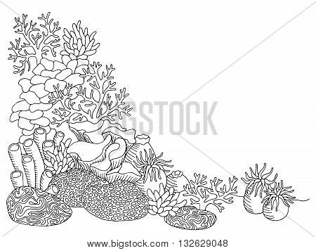 Coral sea graphic art black white underwater landscape illustration vector