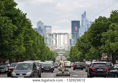 Paris France - May 14 2015: Traffic at La Defense business area. View from Arc de Triomphe. Paris France