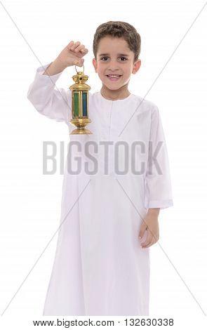 Muslim Boy Wearing White Djellaba Celebrating Ramadan