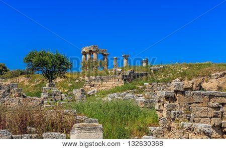 Apollo temple ruins in Ancient Corinth, Peloponnes