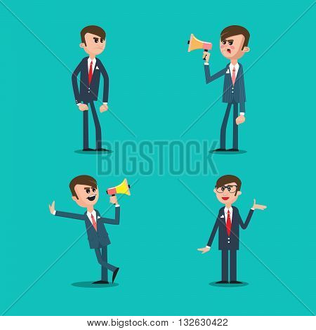 Angry Boss. Director Shouting in Megaphone. Vector illustration