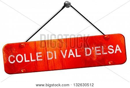 Colle di val d'elsa, 3D rendering, a red hanging sign