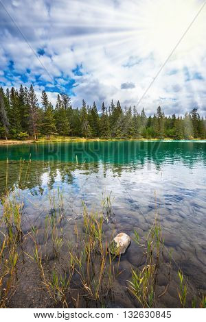 Round lake in the coniferous forest. Canadian Rocky Mountains, lake Annette