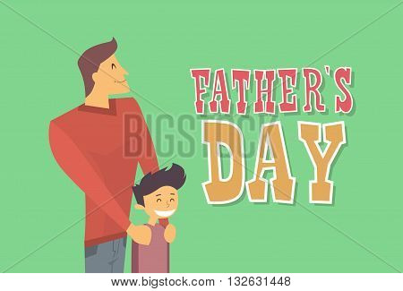 Father Day Holiday, Dad Embrace Son Flat Vector Illustration
