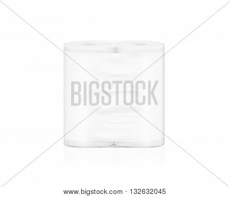 Blank white napkin roll packaging mockup isolated clipping path 3d illustration. Toilet paper clear package design mock up stand. Wc lavatory toilet paper rolls packing transparent wrap template.
