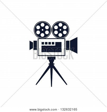 Retro old movie projector icon vector illustration isolated on white background.