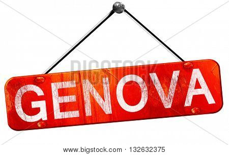 Genova, 3D rendering, a red hanging sign