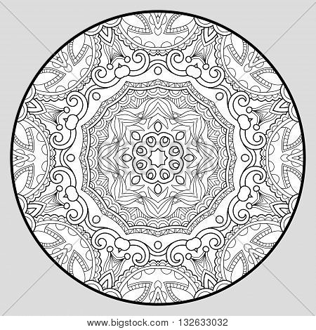 coloring book page for adults - zendala, joy to older children and adult colorists, who like line art creation, relax and meditation, vector illustration