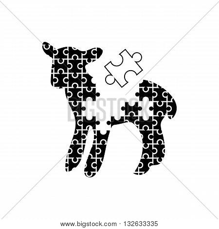 Cute black and white puzzle like lamb slhouette vector illustration isolated on white background.