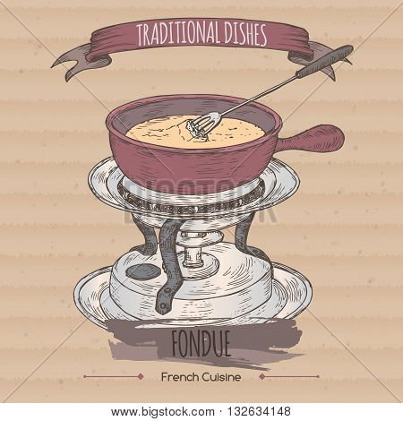 Color fondue chafing stand vector sketch placed on cardboard background. French and Swiss cuisine. Traditional dishes series. Great for restaurant, cafe, menu, recipe books, food label design.