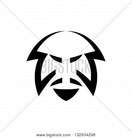 Cartoon style line drawing samurai head vector illustration isolated on white background.