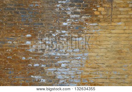 Old Grunge Brick Wall With Paint Stains Background