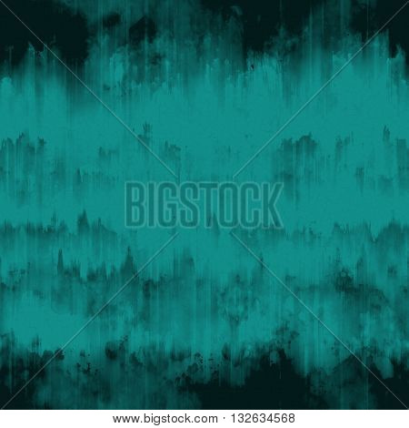 Teal blue abstract grunge surface texture background with uneven dark black paint ink runs strokes and cracks