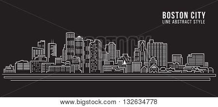 Cityscape Building Line art Vector Illustration design - Boston City