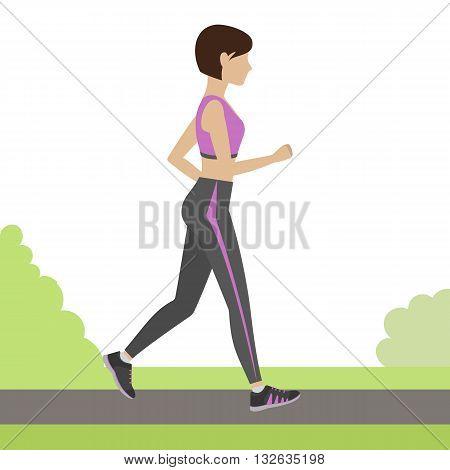 Jogging girl outdoor. Woman running in the park. Vector.